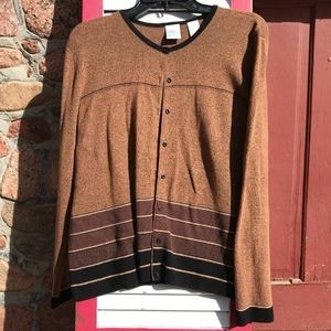 Emma James Brown Button-Front Cardigan Size Large